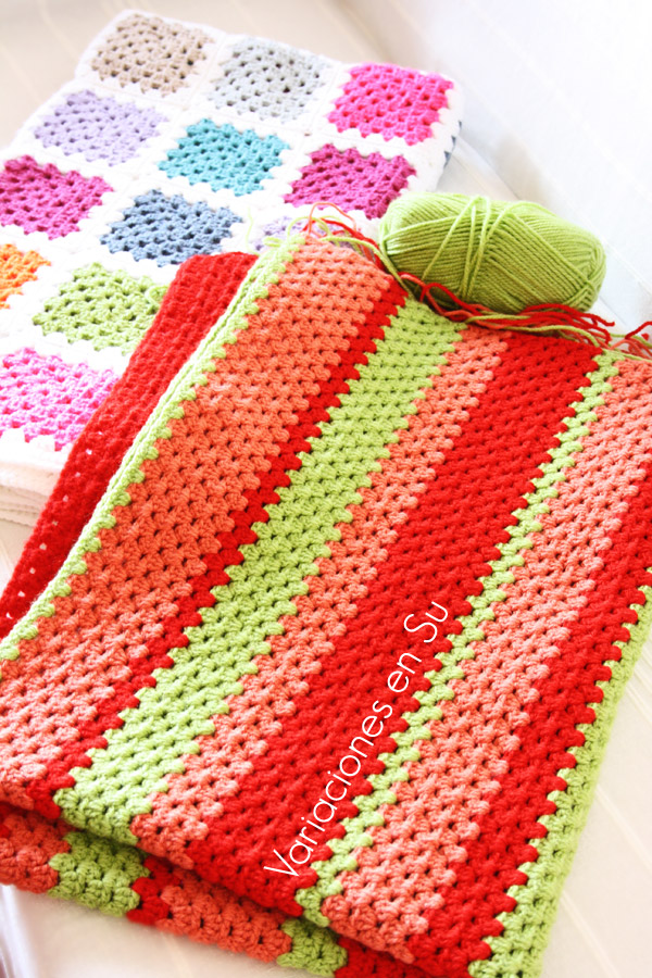 Manta de ganchillo en verde naranja y rojo en proceso - Mantas lana ganchillo ...