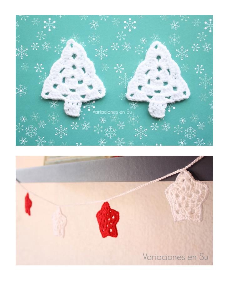 Motivos navideños tejidos a ganchillo, que incluyen estrellas y árboles de Navidad.