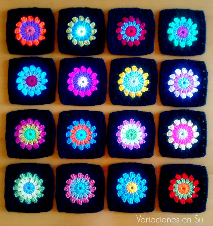 Colorful crocheted granny squares