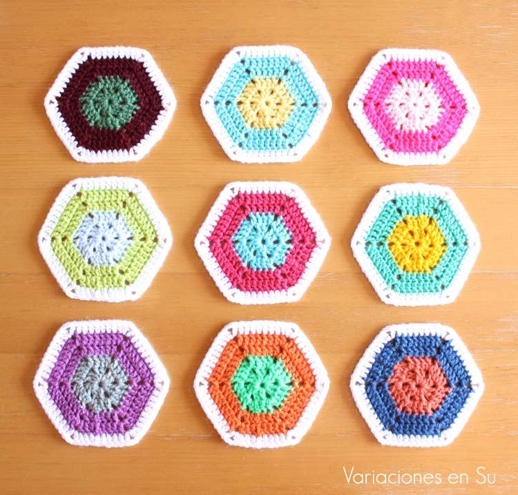 Coloridos hexágonos de ganchillo